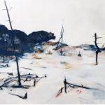 Landschap wit 100x120 olieverf op doek