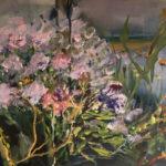 Mijn tuin serie 8 33x41 cm roze olieverf op doek