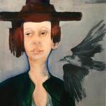 Meisje-met-Vogel-olieverf op doek 80x100 cm VERKOCHT